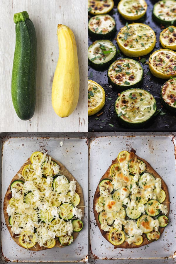Four photos showing fresh and broiled zucchini, topped flatbread and final cooked flatbread.