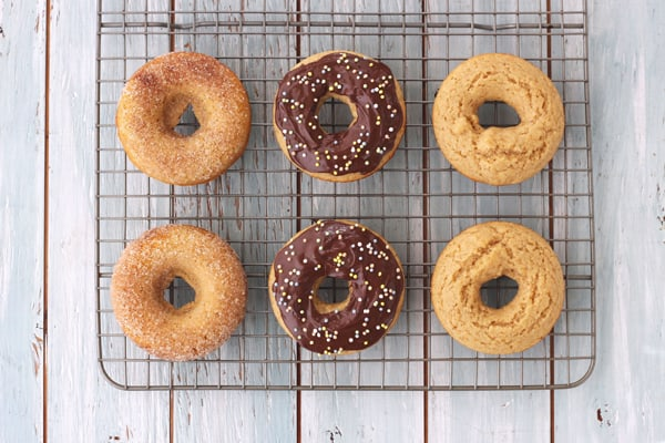 Baked buttermilk donut 3 ways, plain, cinnamon and sugar or topped with chocolate and sprinkles