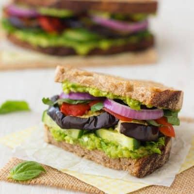 half a broiled eggplant sandwich