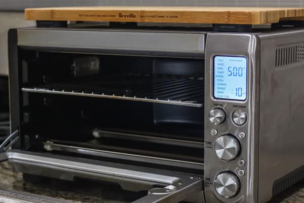 Breville Smart Oven with rack in the top placement.
