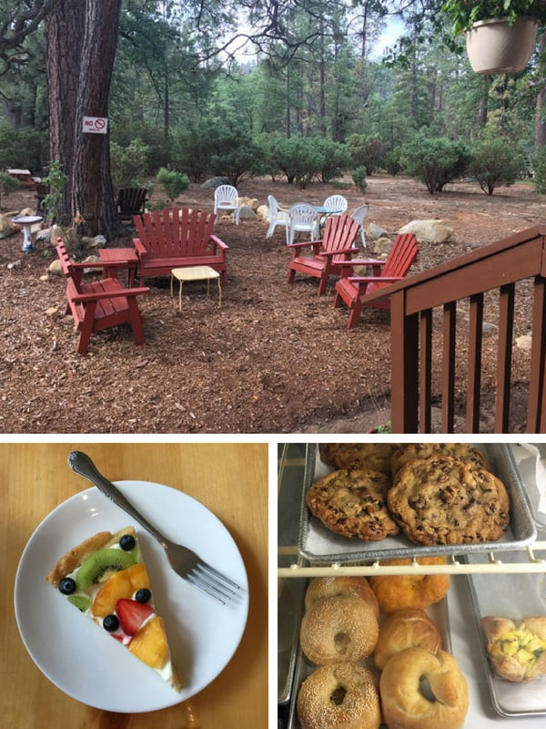 Outdoor patio surrounded by trees, gluten-free fruit tart and bakery case with fresh cookies and bagels.