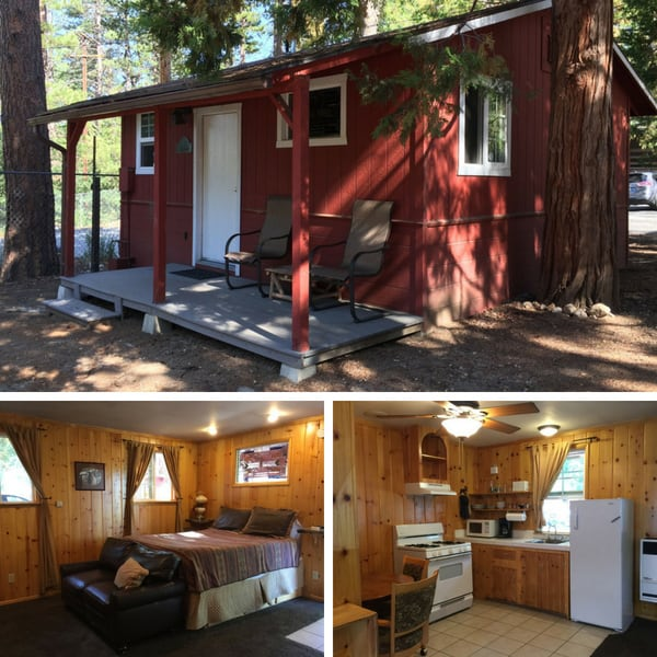 Small cabin with photos of a bed and kitchen inside.