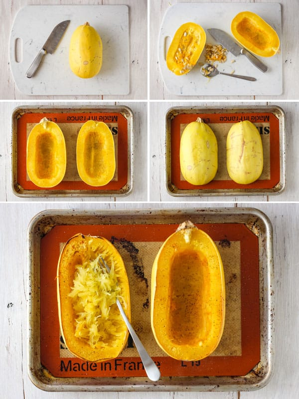 Photos of a spaghetti squash slice in half, seeded, roasted on a baking sheet and scrapped into strands with a fork.