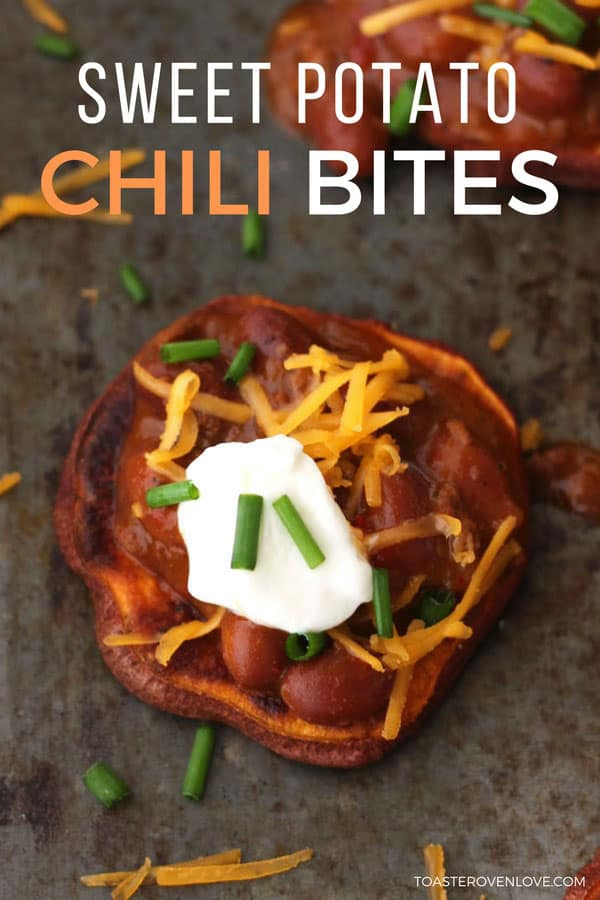 Sweet potato slices topped with vegetarian chili and cheddar cheese, they're perfect for watching the big game