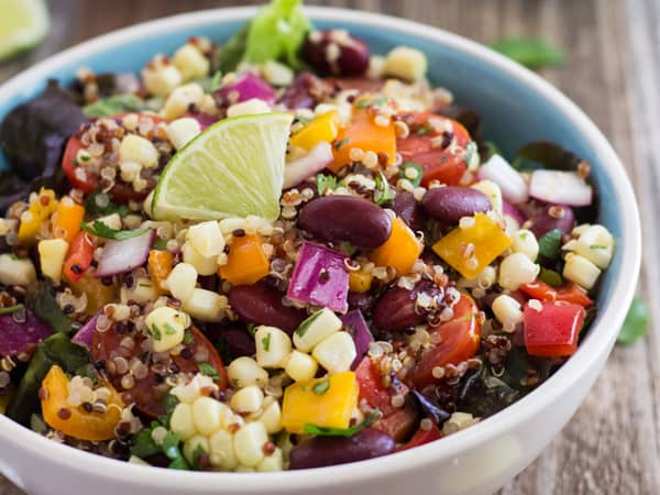 bowl with toaster oven corn and quinoa salad