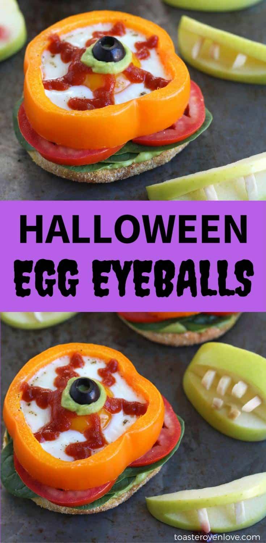 Halloween Baked Egg Eyeballs make breakfast creepy, fun, and healthy!