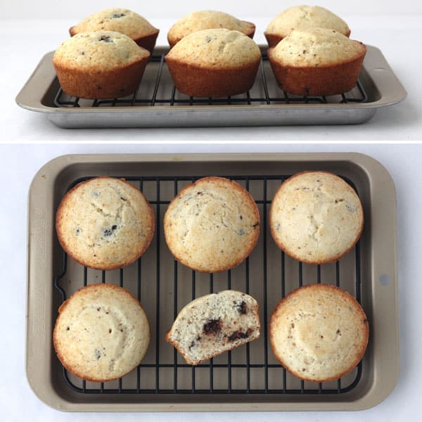 Muffins baked in a little toaster oven.