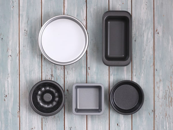 Mini bunt pans, pie pans, square pans, loaf pan and a 6-inch cake pan