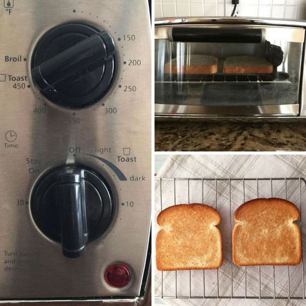 Toaster oven controls and toasted bread.
