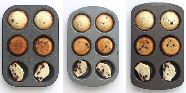 Toaster oven muffins baked in 3 different pans.