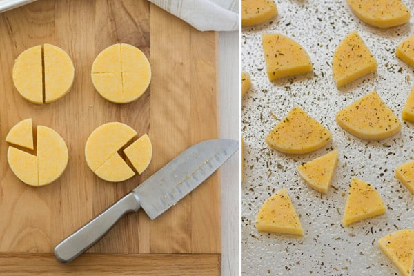 Use your toaster oven to bake and then broil polenta wedges for a crispy treat.