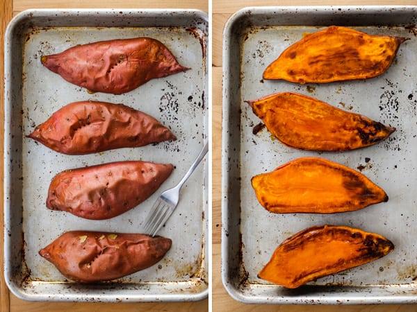 Quick baked sweet potato halves on a baking sheet.