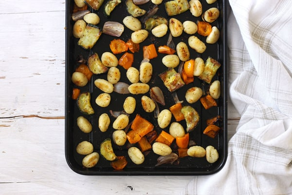 Roasted Gnocchi and Vegetables on a toaster oven baking pan