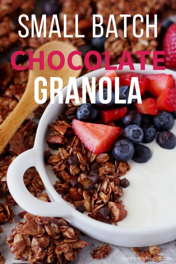 Small batch chocolate granola in a bowl with Greek yogurt and berries.