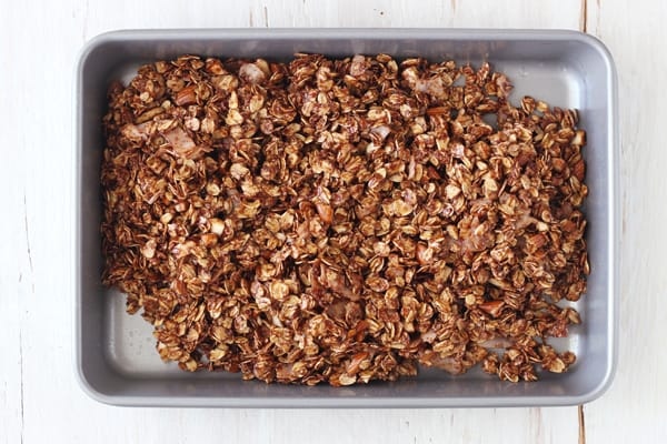 Small batch granola ingredients in a toaster oven baking pan.