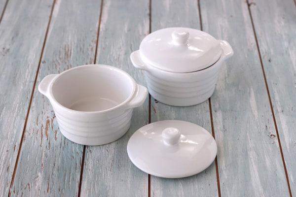 Two white mini stoneware cocottes