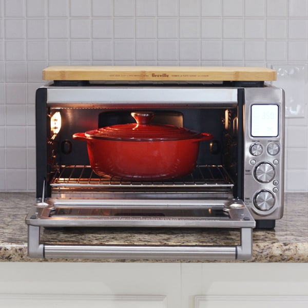 Dutch oven inside a Breville toaster oven
