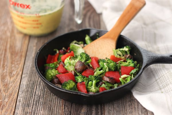 Toaster oven roasted vegetables in a mini skillet