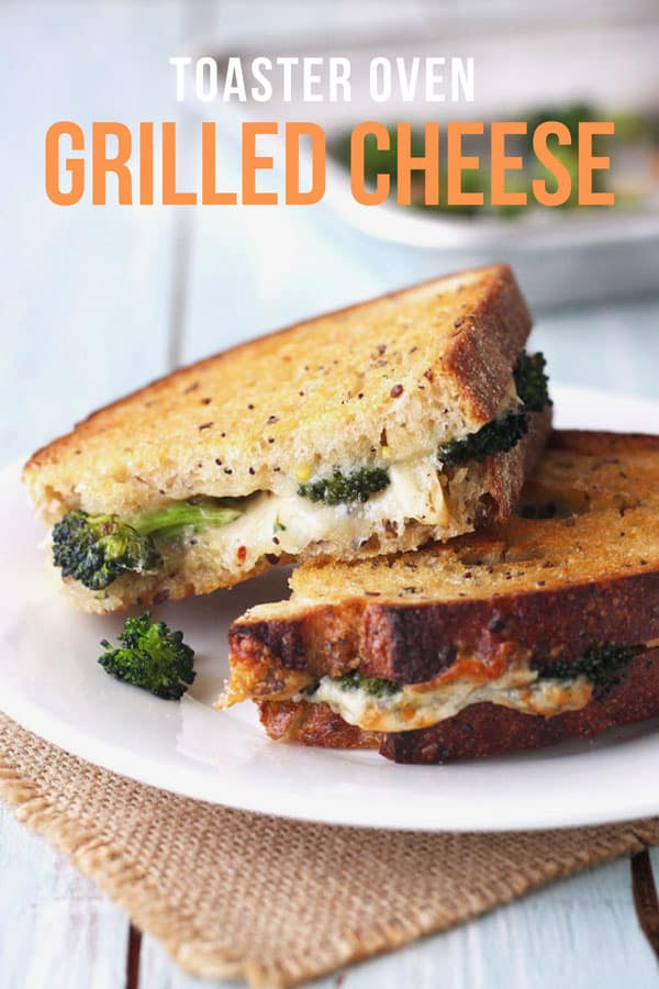 Toaster oven grilled cheese sandwich stuffed with roasted broccoli.