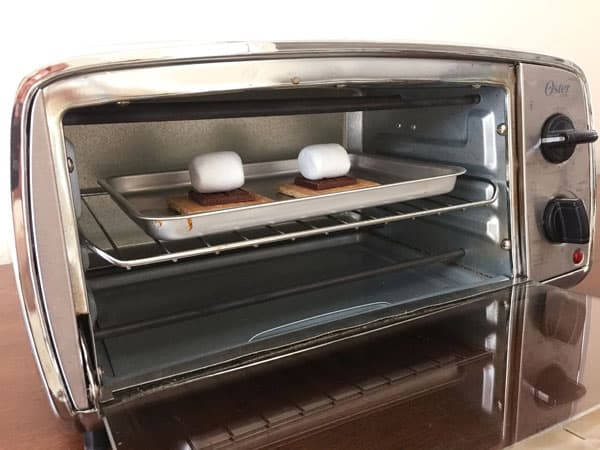 S'mores inside a toaster oven.
