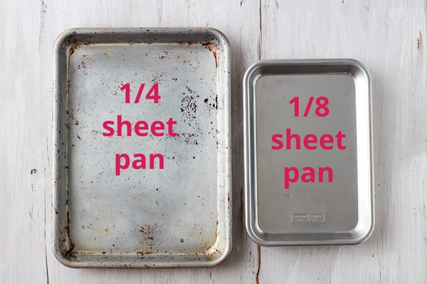 Metal quarter sheet pan and eight sheet pan side by side