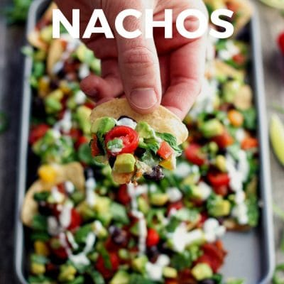 Veggie loaded toaster oven nachos for two